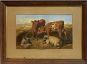 Sale 8716 - Lot 2008 - George William Horlor (1823 - 1895) - Cattle and a Ram 45 x 74.5cm