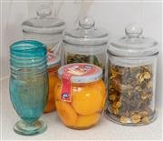 Sale 9070H - Lot 134 - Three lidded sweet jars with pot pourri together with peaches and a Murano style glass footed jar