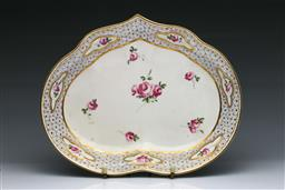 Sale 9093P - Lot 70 - Late C18th Derby Heart Shaped Dish with Roses, w. 26.5cm.