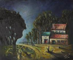 Sale 9096 - Lot 577 - Charles Edward (Hoppy) Hopgood (1917 - 1992) Early Morning, 1973 oil on board 48.5 x 59 cm (frame: 59 x 70 x 3 cm) signed and dated ...