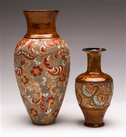 Sale 9104 - Lot 83 - A Royal Doulton Slaters Patent Vase (H 27cm) Together with A Smaller Example (H 18cm)