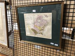 Sale 9147 - Lot 2089 - Map of North America from The Belt , 1788, frame: 35 x 40 cm -