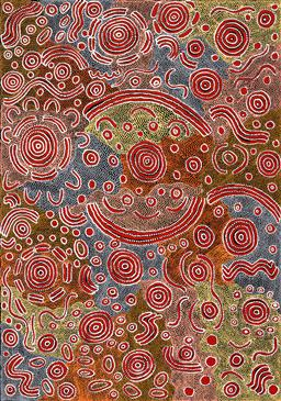Sale 9239A - Lot 5083 - LOLA NAMPIJINPA BROWN Ngapa Jukurrpa Mikanji acrylic on canvas 143 x 101 cm (stretched and ready to hang) signed verso; certificate ...