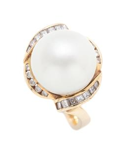 Sale 9260H - Lot 346 - An 18ct gold South Sea pearl and diamond ring; featuring a 13mm round cultured pearl of good colour and lustre to  surround channel...