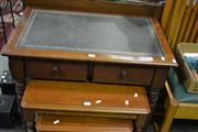 Sale 8093 - Lot 1024 - Occasional table w 2 Drawers & Leather Insert Top