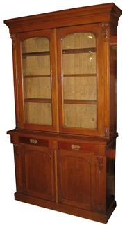 Sale 8258A - Lot 20 - Mid Victorian oak bookcase with two drawers and arcaded moulded doors, RRP $3500, W125 x D41 x H214cm