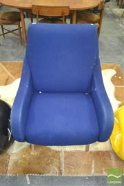 Sale 8275 - Lot 1059 - Blue fabric modernist Armchair over Chrome Legs