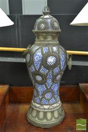 Sale 8515 - Lot 1005 - Moroccan Blue & White Ceramic Lidded Jar & Metal Mounts