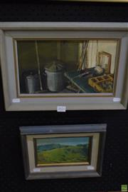 Sale 8569 - Lot 2022 - Rodney Parker (2 works) - Artist Studio Still Life; Country Landscape 27.5 x 40cm; 21.5 x 28cm (frame)