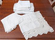 Sale 8595A - Lot 41 - A quantity of napery, including lace tablecloths, napkins etc of various sizes