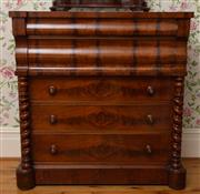 Sale 8649A - Lot 55 - A Victorian Scottish flame mahogany chest of five drawers, flanked by barley twist columns, H 127 x W 122 x D 57cm