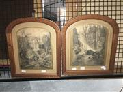 Sale 8776 - Lot 2026 - 2 Waterfall Pictures in Carved Timber Frames