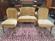Sale 8917 - Lot 1014 - Late 19th Century Gilt Carved Salon Suite of Australian Interest, comprising settee & two side chairs, with shell carved tops, velve...