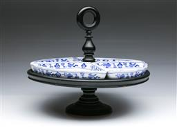 Sale 9093P - Lot 71 - Villeroy & Boch Onion Pattern Hors DOuevres Dishes with Ebonised Stand, diam. 35cm.