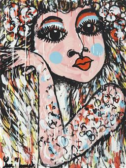 Sale 9157A - Lot 5024 - YOSI MESSIAH (1964 - ) Glamorous Girl, 2020 mixed media on board (unframed) 100 x 75 cm signed lower right, dated and titled verso