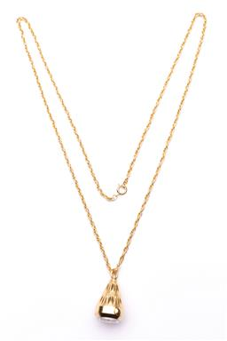 Sale 9098 - Lot 246 - Gilt Washed Mortima 17 Jewels Anti-Magnetic Pendent Watch and Chain, not tested, h 3cm