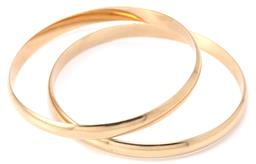 Sale 9140 - Lot 350 - A PAIR OF 9CT GOLD BANGLES; half round 5.8mm wide bangles of plain form, internal diam. 58 & 61mm, wt. 33.87g.