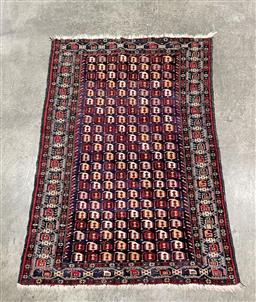 Sale 9154 - Lot 1022 - Persian hand-knotted pure wool Prayer Rug with repeating geometric shapes in red, black and cream tones (167 x 103cm)