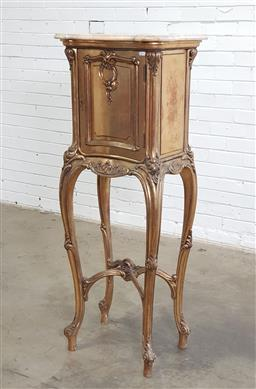 Sale 9179 - Lot 1045 - Louis XV Style Elevated & Gilt Pedestal Cabinet, with shaped cream marble top, scroll carved panel door & brackets, raised on long c...