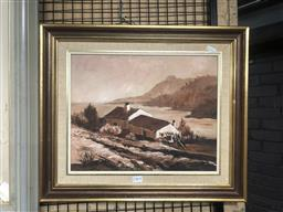 Sale 9176 - Lot 2180A - M.J Warr lake Side Cottage, oil on board, frame: 43 x 53, signed and dated lower left -