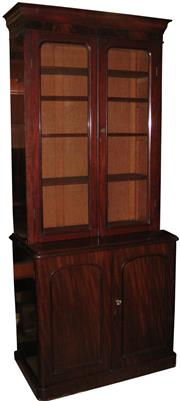 Sale 8258A - Lot 21 - Victorian mahogany two height bookcase, RRP $2950, W99 x D53.5 c H227cm