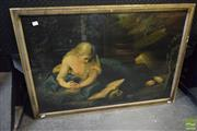 Sale 8530 - Lot 2051 - Victorian Chromolithograph Mary Magdalene in Retreat 70 x 100cm (frame size)