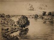 Sale 8592A - Lot 5001 - Lionel Lindsay (1874 - 1961) - Hawkesbury River 14 x 18.5cm