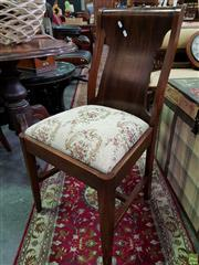 Sale 8580 - Lot 1090 - Set of Four Timber Dining Chairs with Upholstered Seats