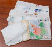 Sale 8595A - Lot 42 - A quantity of stitched tablecloths and napkins, mainly florals