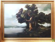 Sale 8600 - Lot 2056 - Continental Style - Dutch Country River Scene oil painting, 108 x 144cm (frame)