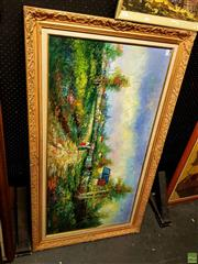 Sale 8631 - Lot 2072 - Artist Unknown Country Village Scene acrylic on board, frame size 78 x 139 cm signed lower right