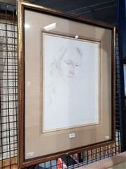 Sale 8699 - Lot 2046 - Garth Legge - Portrait of a Girl,1975, pencil on paper, 57.5 x 46cm (frame size), signed and dated lower right