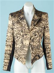 Sale 9027F - Lot 38 - A Scanlan &Theodore black and gold jacket with linen, silk and metal blend. Size 10
