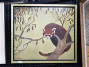 Sale 9036 - Lot 2009 - Marina Finlay Red Panda, oil on plywood, frame: 46 x 51 cm, signed lower left