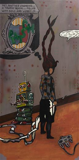 Sale 9150A - Lot 5042 - MARIKA BORLASE (1967 - ) Channel Surfing #2 - Robot Wars , 2005 acrylic and oil on board 118 x 58 cm (frame: 125 x 65 x 5 cm) inscri...