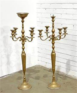 Sale 9126 - Lot 1273 - Pair of tall alloy 4-arm Candelabra with central tray (1 tray missing) (h114 x d43cm)