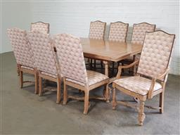 Sale 9151 - Lot 1395 - Rustic timber 9 piece dining suite with double extension table (h74 x 192 x d113cm) 6 chairs & 2 carvers (h108cm)
