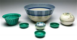 Sale 9173 - Lot 86 - A collection of studio pottery inc bowl (Dia 28cm) , lidded containers and others