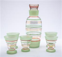 Sale 9185 - Lot 56 - A Retro green glass drinks suite incl decanter (decanter height 21cm)