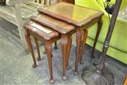 Sale 8175 - Lot 1038 - Timber Nest of 3 Tables with Glass Insert Top