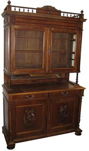 Sale 8258A - Lot 22 - Large French walnut dresser/bookcase from the late nineteenth century, RRP $3950, W146 x D62 x H234cm