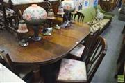 Sale 8326 - Lot 1605 - 9 Piece Oak Dining Suite inc Extension Table and 6 Chairs