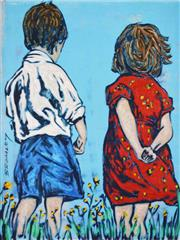 Sale 8492A - Lot 5032 - David Bromley (1960 - ) - Two Children 28.5 x 21.5cm