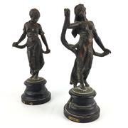 Sale 8545N - Lot 114 - Pair of Bronze Statues on Timber Bases, one marked 'Gaiety' and the other unmarked (H:30cm)