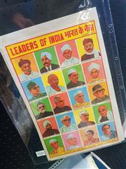 Sale 8650 - Lot 2046 - Freedom Fighters of India (Chart no.57) & Leaders of India (Chart. no.1) Printed by Ashoka Map Co. (unframed)