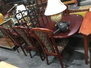 Sale 8740 - Lot 1507 - Timber Seven Piece Dining Setting incl. Extension Table & Six Upholstered Back & Seat Chairs