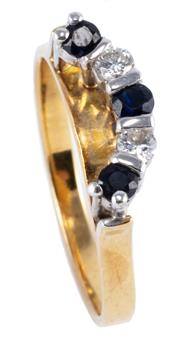 Sale 8974 - Lot 309 - AN 18CT GOLD DIAMOND AND SAPPHIRE RING; crescent shape setting featuring 3 round cut dark blue sapphires and 2 round brilliant cut d...