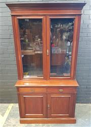 Sale 9014 - Lot 1009 - Late Victorian Walnut Bookcase, with two glass panel doors, two drawers & two timber panel doors  (H232 x W130 x D49cm)