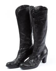 Sale 9027F - Lot 3 - A pair of torretti black Leather calf length boots with a short block heal, size AUS 7.5