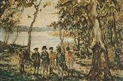 Sale 9038A - Lot 5099 - John Alcott (1888 - 1973) - Discovery of the Site of Sydney by Governor Phillip, 1926 27.5 x 38.5 cm (frame: 42 x 53 x 2 cm)